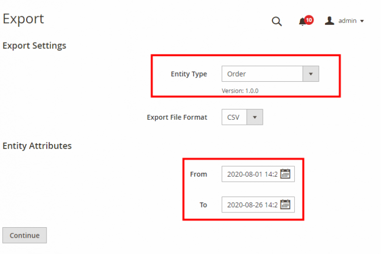 Magento 2 Export settings