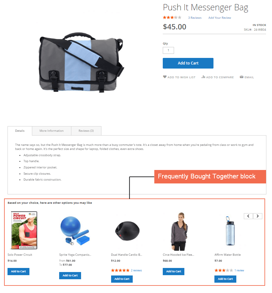 Frequently Bought Together block on product page