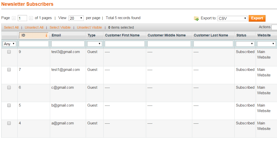 Magento Improved Newsletter extension
