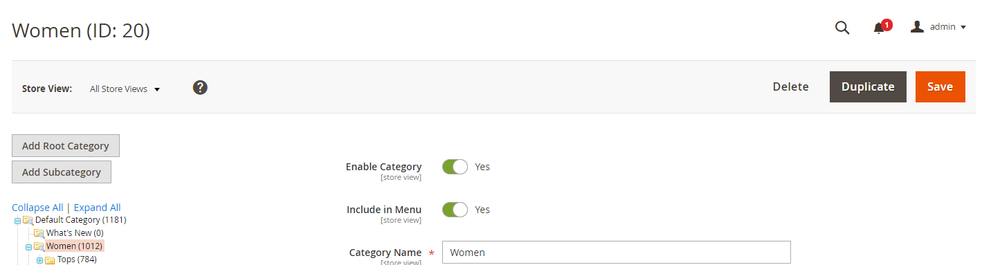 """""""Duplicate Button"""" appears on Category Page"""