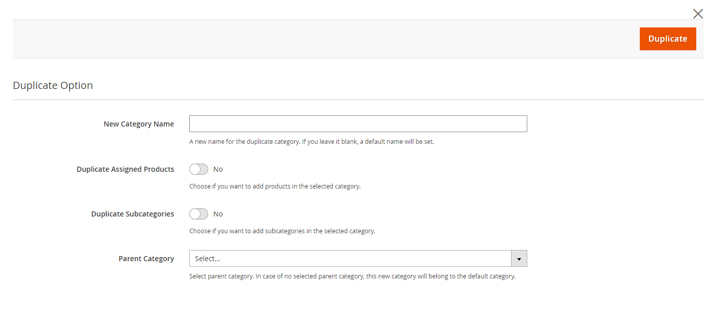 A menu for adding category name, assigned products, subcategories, parent category