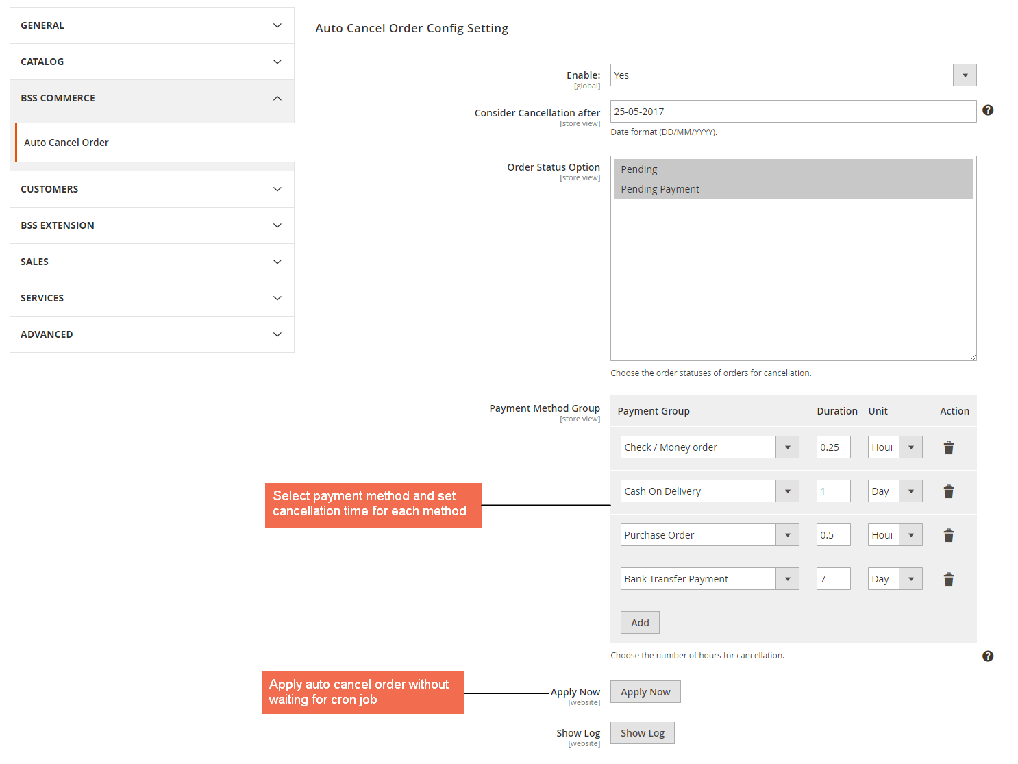 Configure cancelation time for specific payment methods in General Config