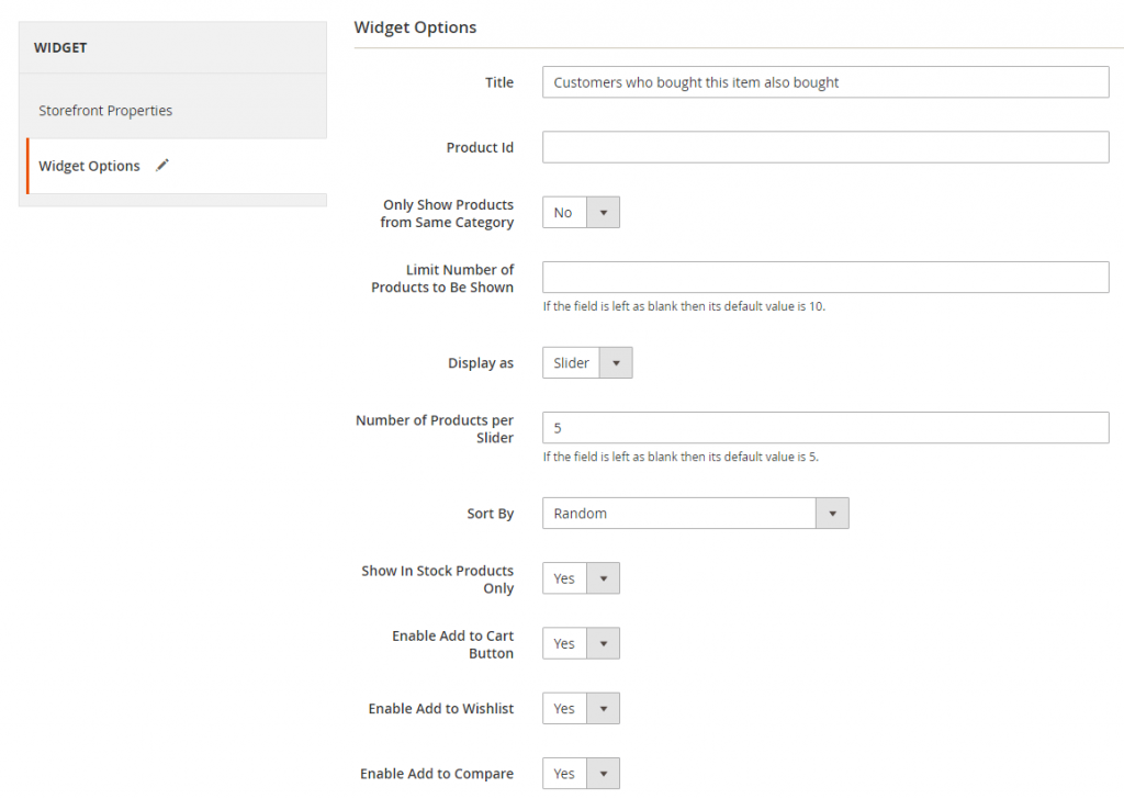 Select widget options for Customers Also Bought