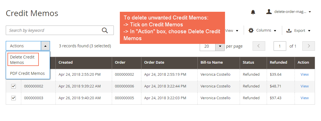 Delete Credit Memos from Credit Memos Grid View Page