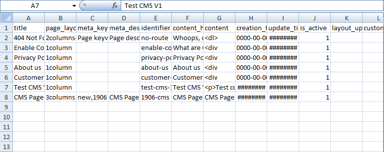 The CSV file includes CMS page data to import to Magento 2 sites
