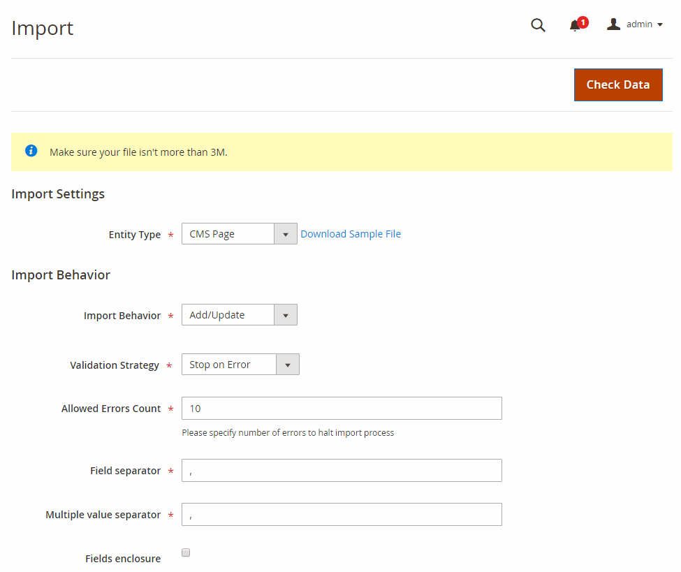 Make import settings  Magento 2 Import Export CMS Page
