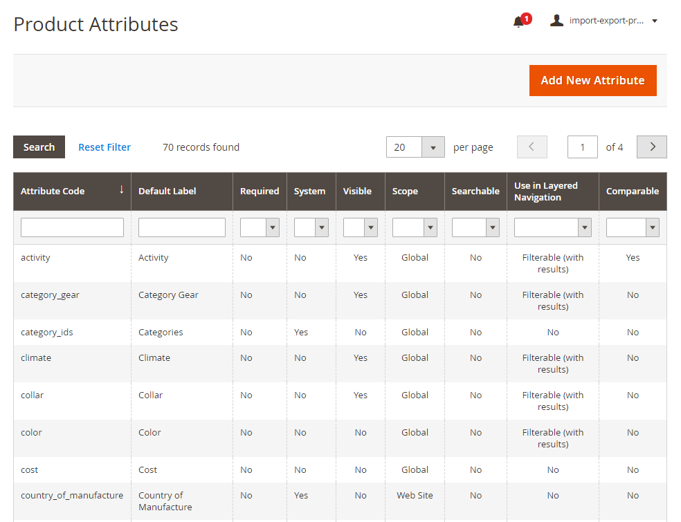 magento 2 import attribute - attribute grid