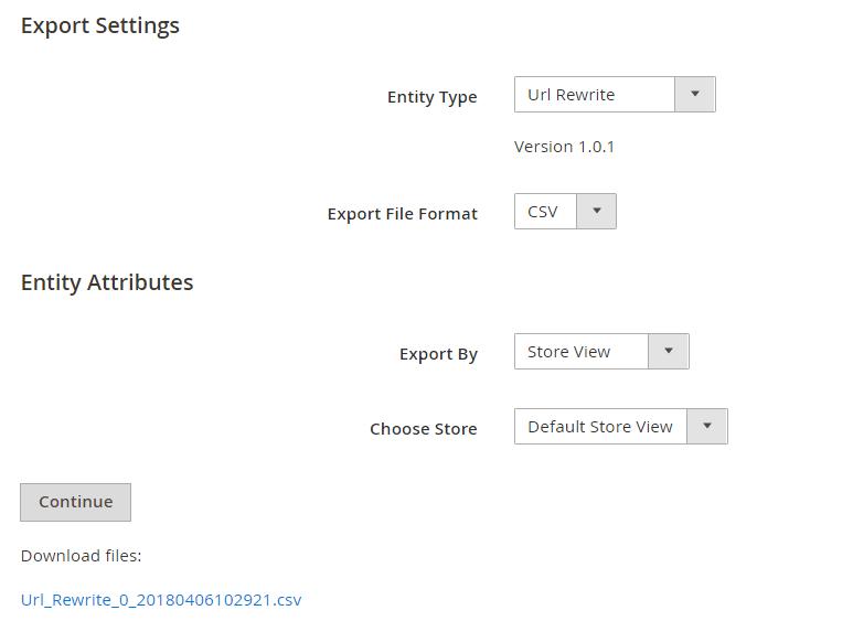 Magento 2 URL Rewrite module - export by store views