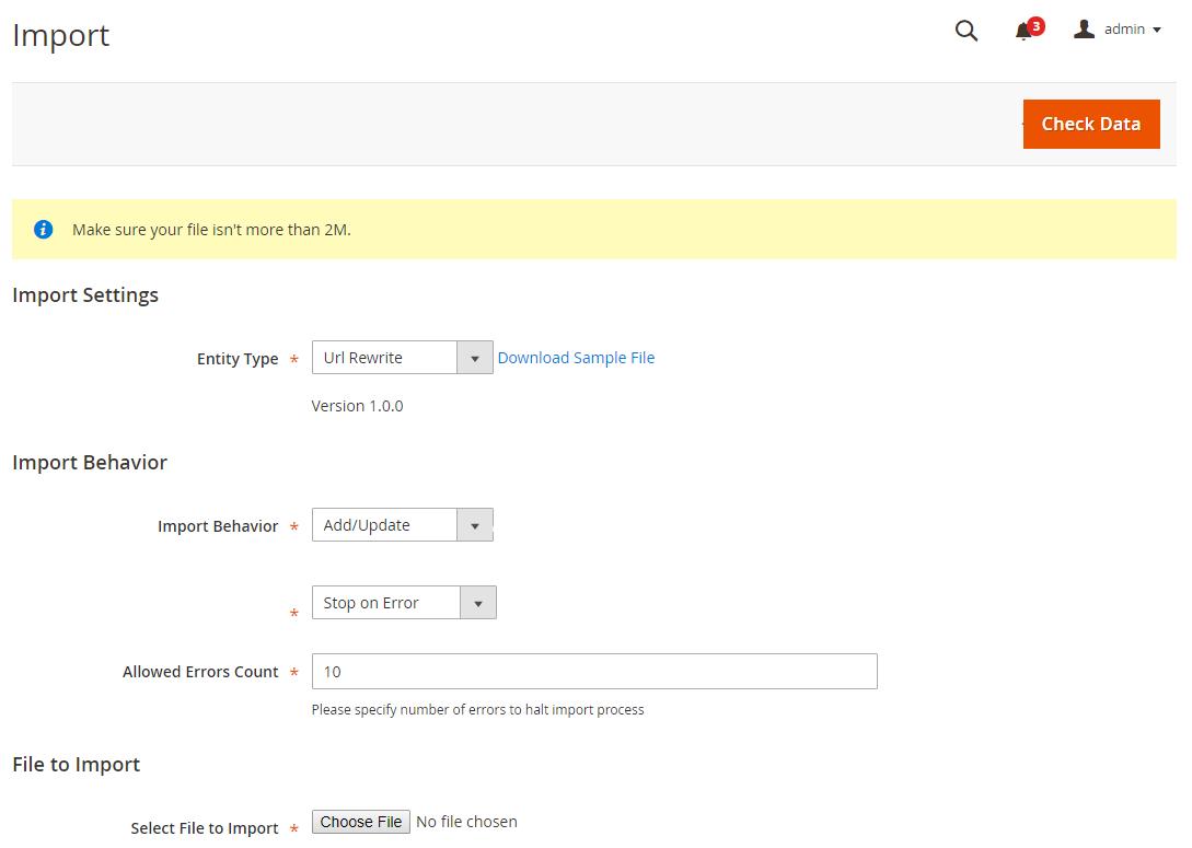 Magento 2 URL Rewrite extension - import settings