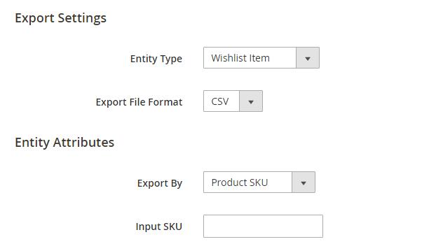 import export magento 2-export wishlist items by skus