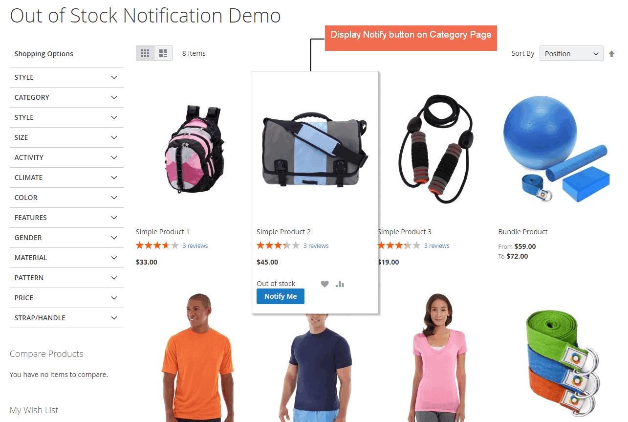 notify stock in store button on category page