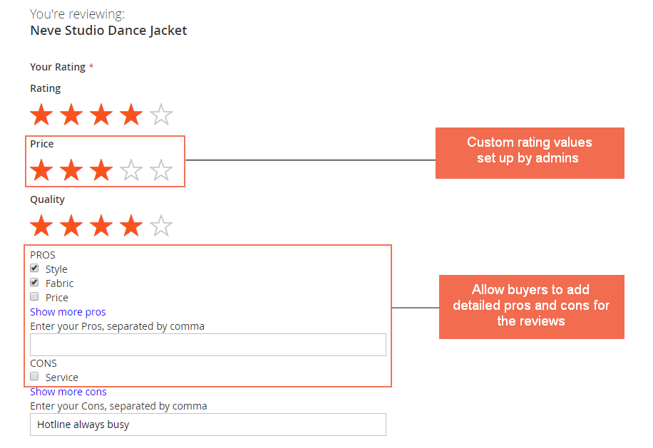 Add custom rating value and pros and cons for review