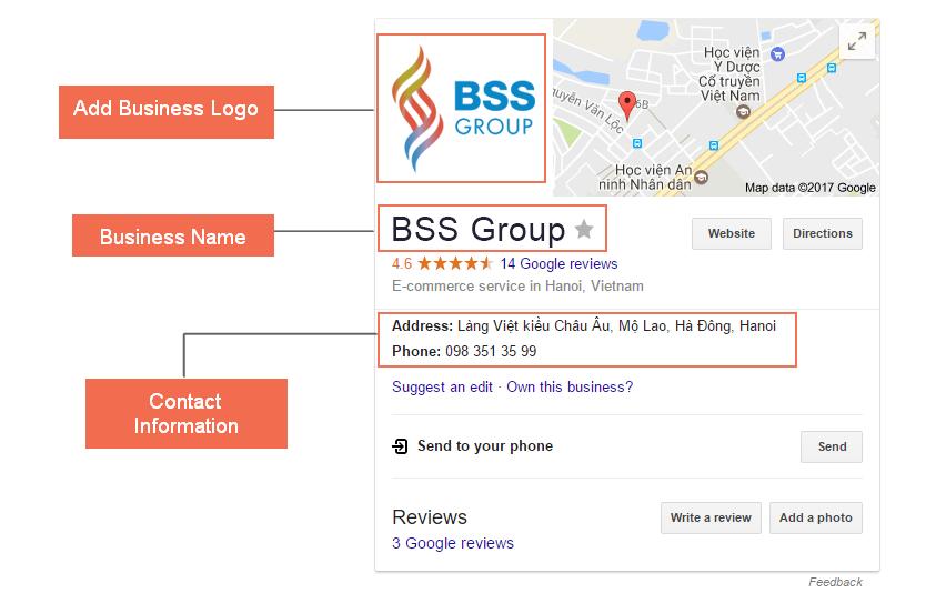 Support adding business information: logo, website, contact address...