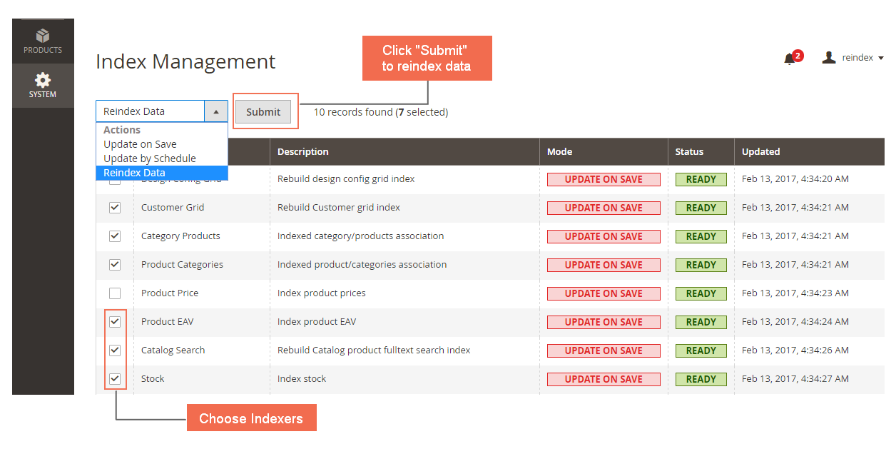 Reindex from Backend for Magento 2 Index Management