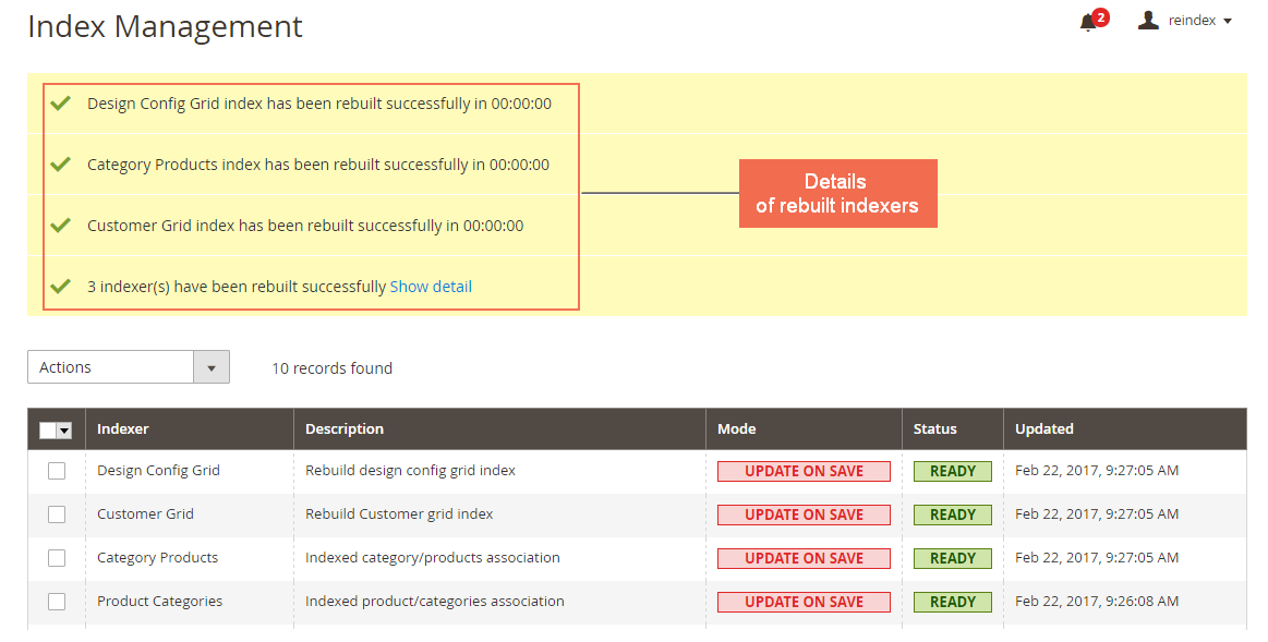 Reindex from Backend for Magento 2 Notification