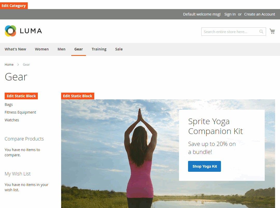 Edit button to view backend Category Edit page for editing
