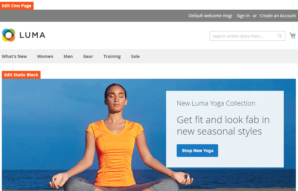 Edit button to view backend CMS Edit page for editing