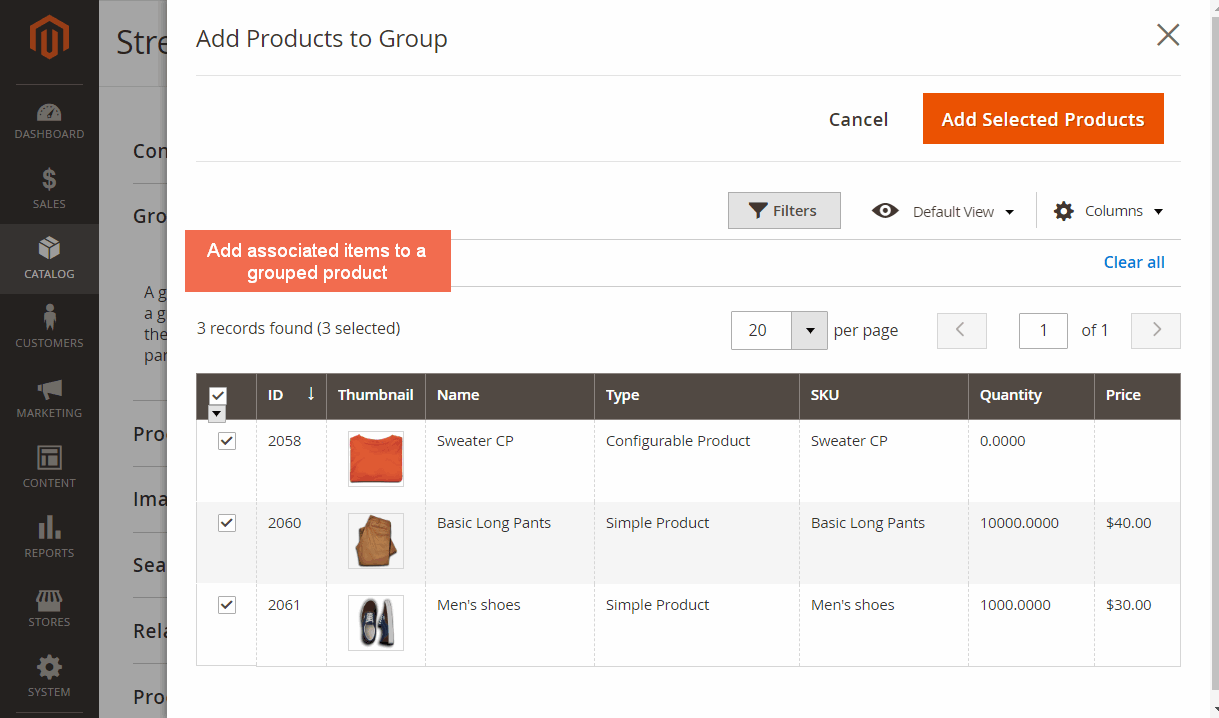 magento 2 grouped product extension - add associated products