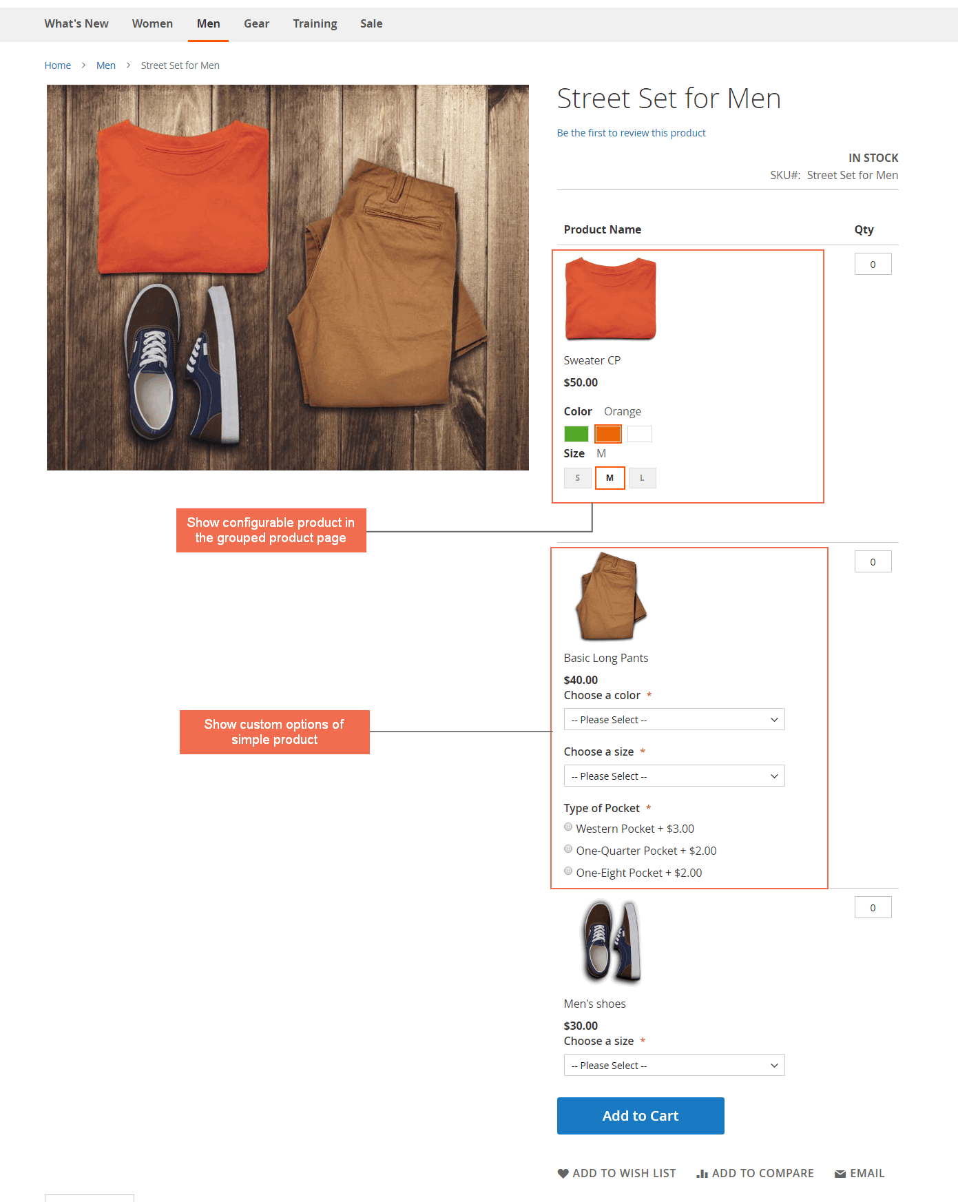 magento 2 grouped product custom options - frontend display
