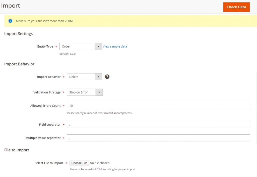 Magento 2 Import Order settings