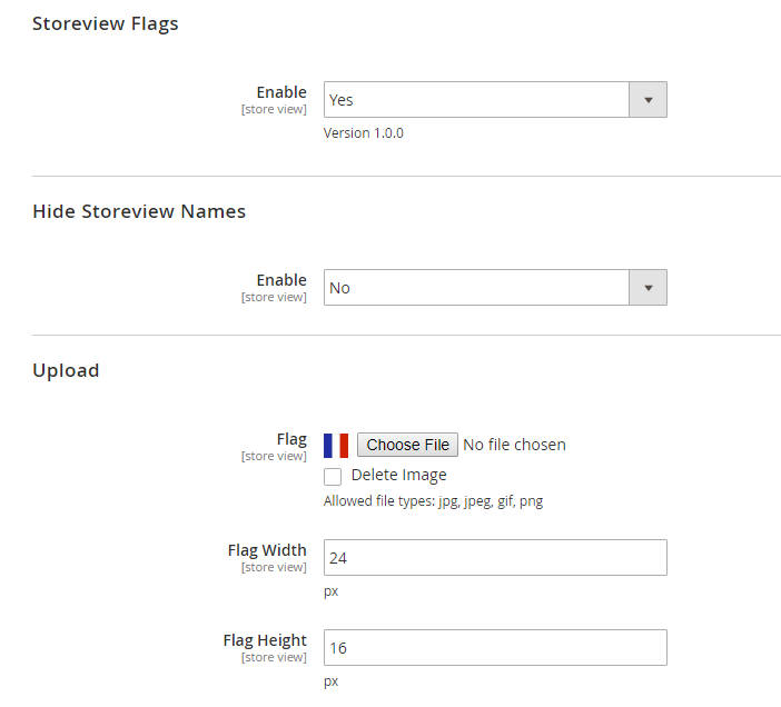 Make configuration for each store view