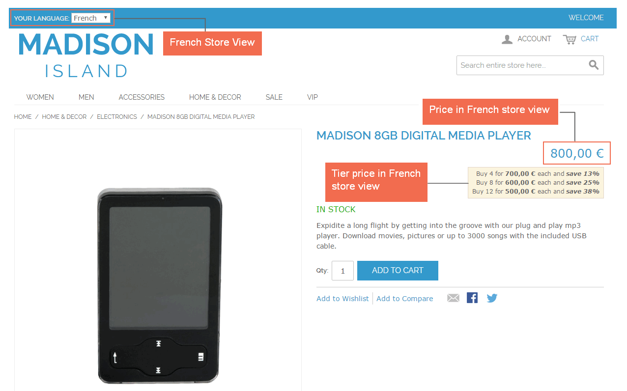 Price of product in the French store view