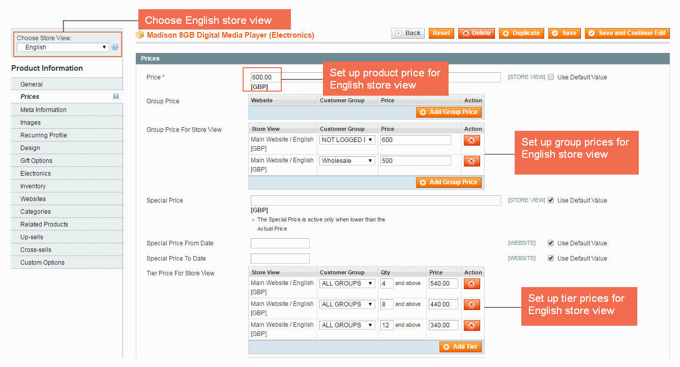 Set up product price, group price and tier price in the English store view