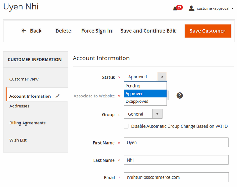 magento 2 customer approval-account registration edit page