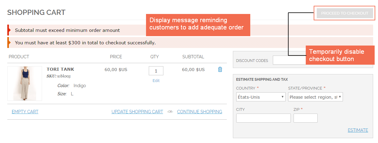 Display message to notify minimum order amount requirement