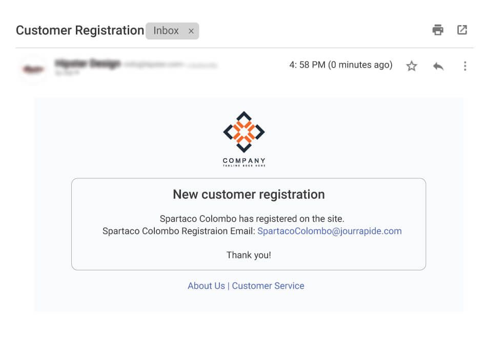 Email to notify about new customer registration