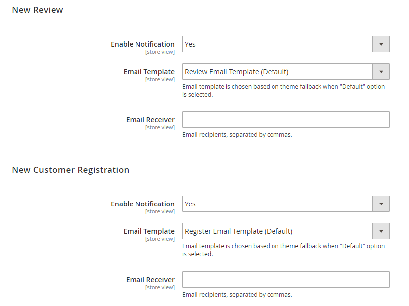 Settings for notification emails when there is a new review or a new  customer registration