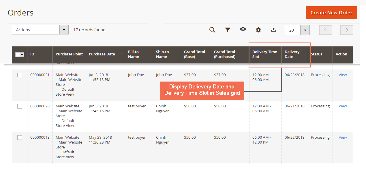 Shows Order Delivery Date column in order grid view