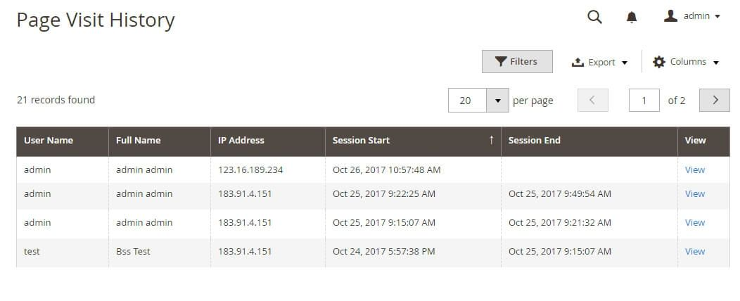 Show Page visit history in a grid table