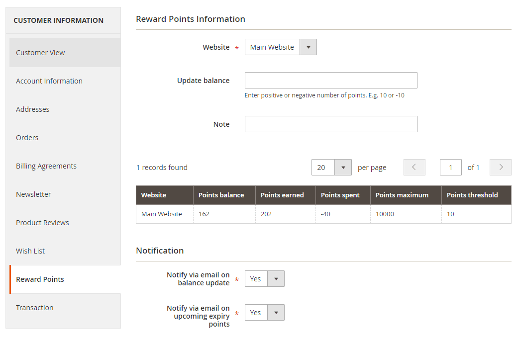 magento customer rewards - points in customer account backend