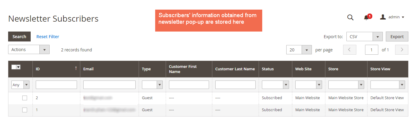 magento newsletter pop-up extension - manage subscriber newsletter