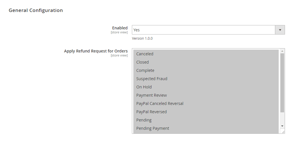 General config of Magento 2 Refund Request by Customer extension