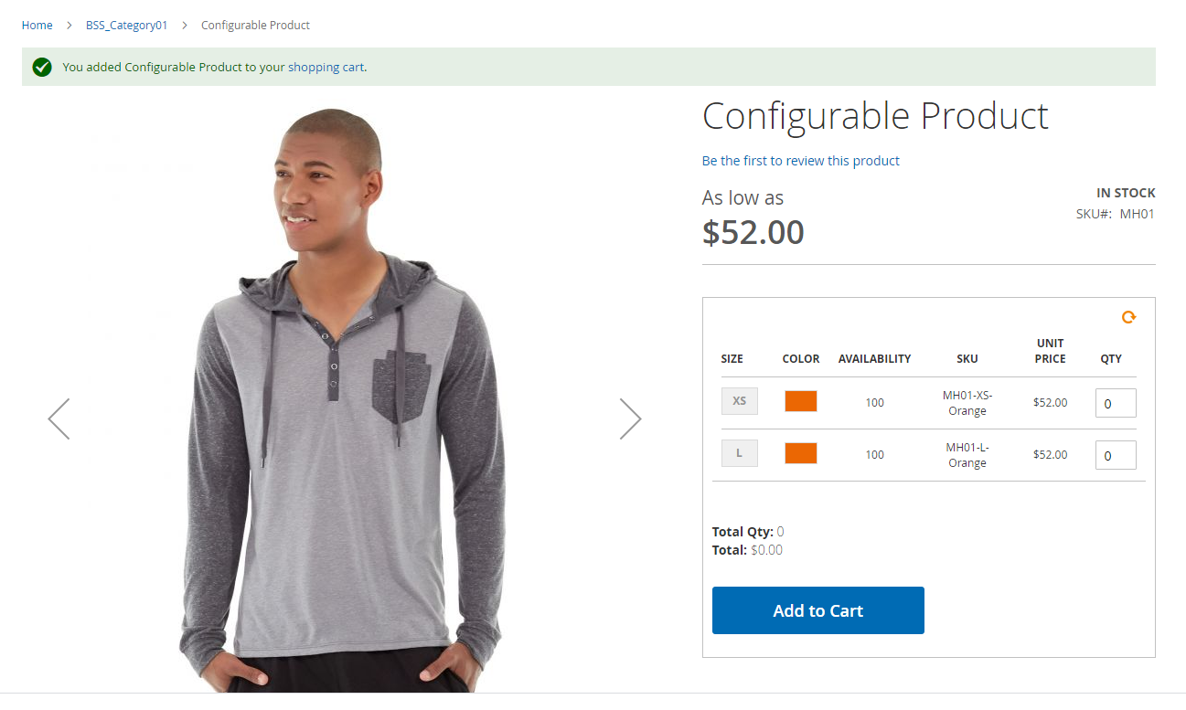 Add Configurable Product to Cart with Grid Table View