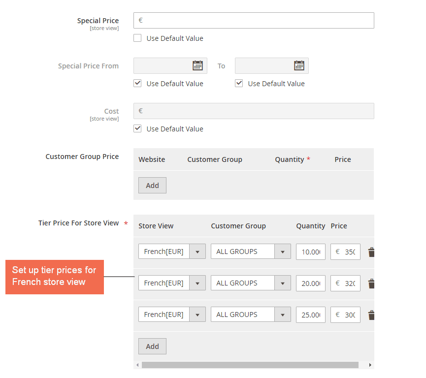 magento 2 storeview base prices - tier price for french