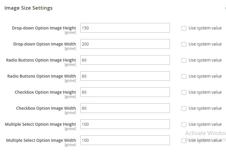 Set image size for each option type