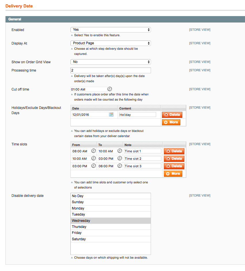 Set up time from the backend of Magento Order Delivery Date and Time Extension