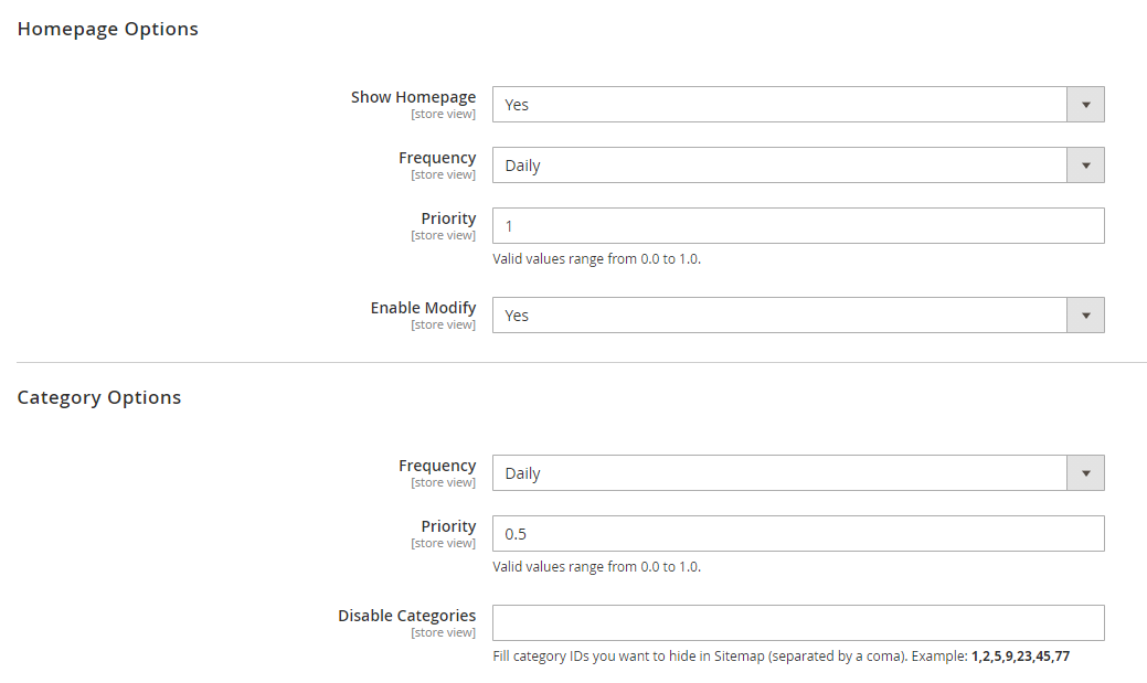 Make settings for Homepage and category pages for the sitemap