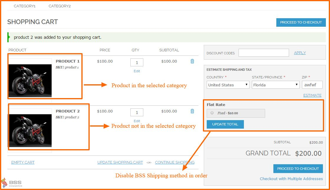 shipping method for category on shopping cart page