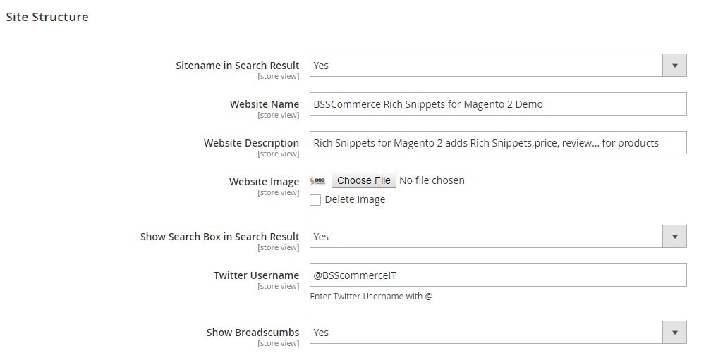 Magento 2 Rich Snippets Site Structure Setting