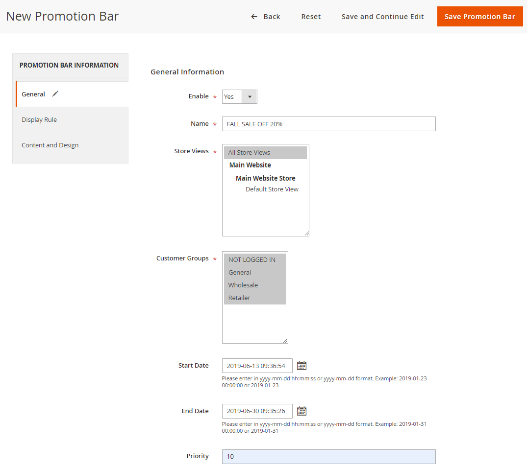Step 1: Add general information for the new Promotion Bar