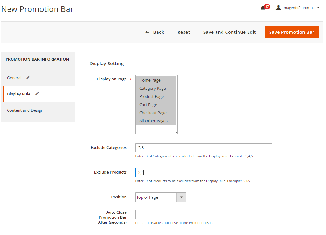 Step 2: Set up display rules for the new Promotion Bar