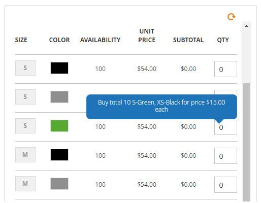 Advanced Tier Pricing with Grid Table View