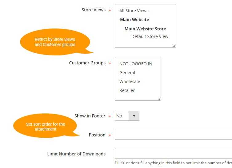 product attachments magento 2 - advanced settings