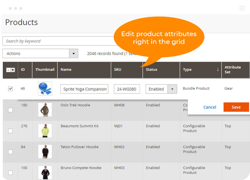 Edit product attributes right in the grid