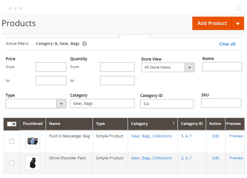 Filter products by exact Category and Category ID