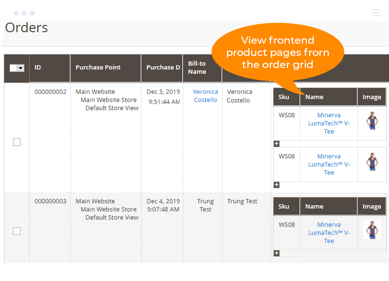 View frontend product pages from the order grid